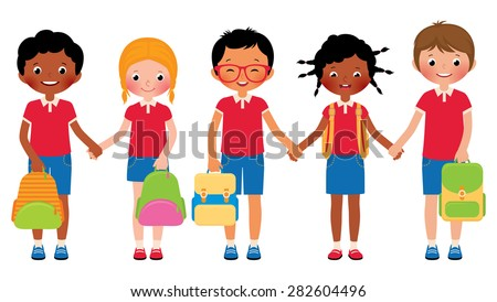 Stock cartoon illustration of a group of children students in school uniforms/Group of children students in school uniforms/Stock cartoon illustration - stock photo