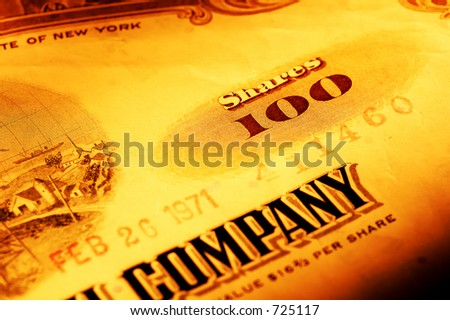 Stock Certificate With Creative Lighting - stock photo