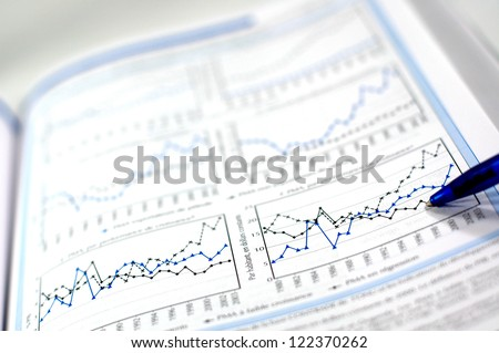 Stock chart and financial report - stock photo