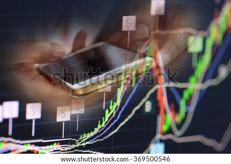 stock chart and finger use phone and tablet