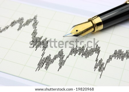 Stock chart and fountain pen