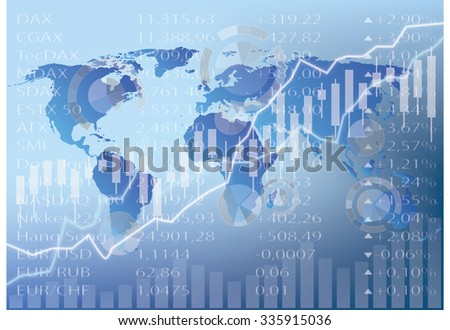 stock chart illustration, world map , figures, graphs and diagrams - abstract stock market graphic - stock photo