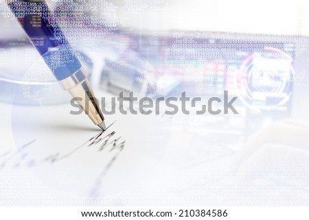 stock concept background with pen - stock photo