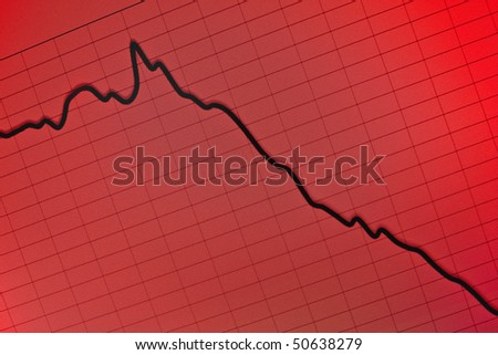 stock crash recession- computer screen - stock photo