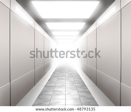Stock 3D Illustration of a Brightly lit corridor leading into white light - stock photo
