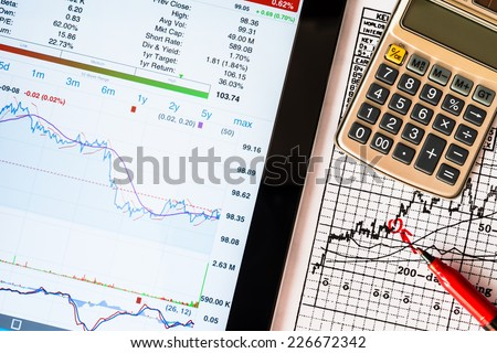 Stock Data Analysis, mark the red - stock photo