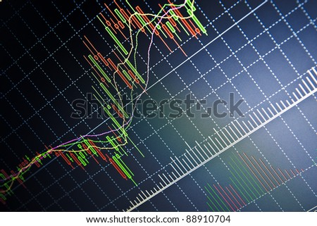 Stock data live on-line. Dark dramatic image - stock photo