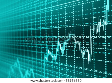 Stock diagram on the monitor - stock photo