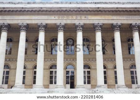 Stock exchange building in Paris, France - stock photo