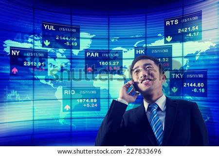 Stock Exchange Business Global Analyze Talk Phone Concept - stock photo