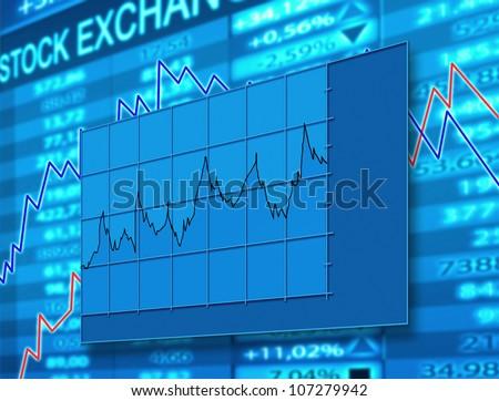 stock exchange chart - stock photo