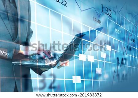 Stock exchange chart.  - stock photo