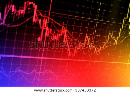 Stock exchange chart graph. Finance business background. Abstract stock market diagram candle bars trade. - stock photo