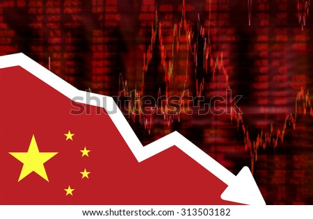 Stock exchange loss red screen with flag of China. Downtrend stock data diagram ideas concept design - stock photo