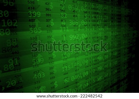 Stock exchange market. Concept profit gain. Online live finance business. Stock market chart on green background. Forex trade. Blue stock market. Computer screen. Computer screen. Forex trade.  - stock photo