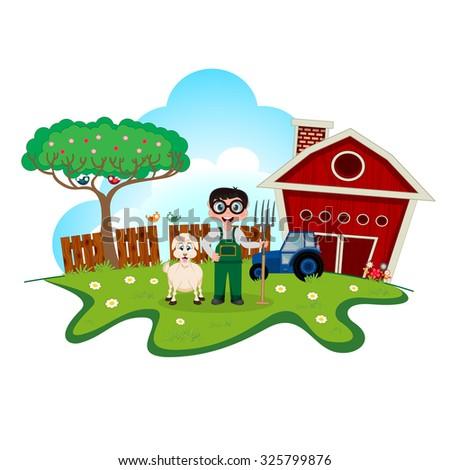 Stock farmer with goat on farm cartoon for your design - stock photo