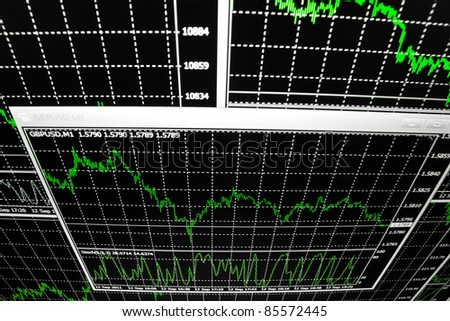 Stock finance business diagram on the screen - stock photo