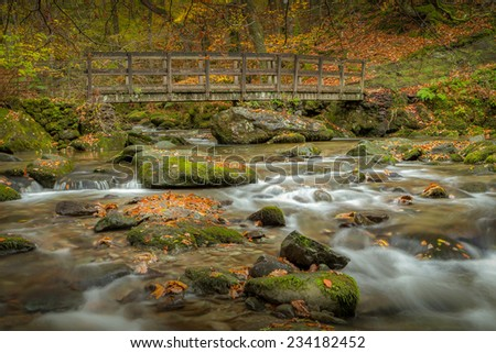 Stock Ghyll Force Ambleside in the Lake District national park Cumbria United Kingdom and the bridge over the stream bellow the falls - stock photo