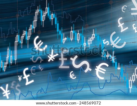 stock graphs and money symbol on virtual screen, close up - stock photo