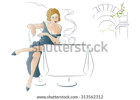 Stock illustration. Girl drinks tea at a cafe table