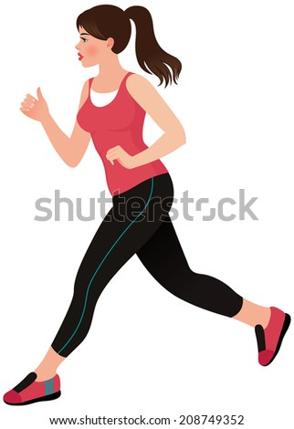 Stock illustration of a pretty young woman doing jogging/Running girl athlete/Illustration of a beautiful young woman athlete - stock photo