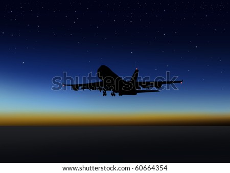 Stock illustration of an airplane flying at night - stock photo