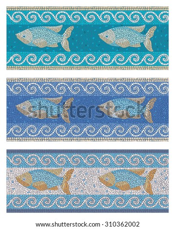 Stock illustration of seamless mosaic background in ancient style on the marine theme/Seamless mosaic in marine style/Stock illustration - stock photo