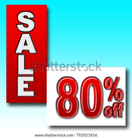 Stock Illustration - Red 80 Percent Off, Red Sale, Blue Gradient Background, 3D Illustration.
