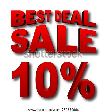 Stock Illustration - Red 10 Percentage Off, Red Best Deal, Red Sale, Bold Red Text, Isolated against the White Background, 3D I