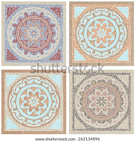 Stock illustration seamless pattern antique mosaic/Antique mosaic/Stock illustration seamless pattern in antique style - stock photo