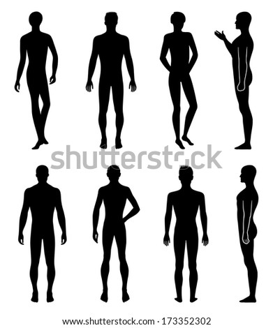Stock illustration set of full length front, back, side silhouette of man. - stock photo