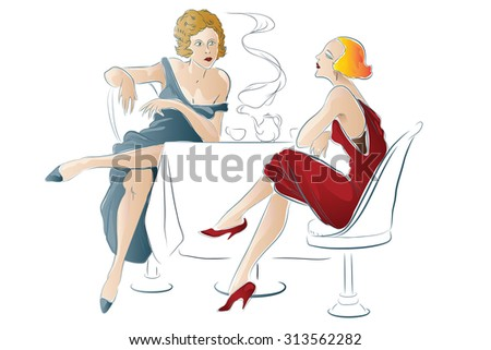Stock illustration. Women are sitting in cafe - stock photo