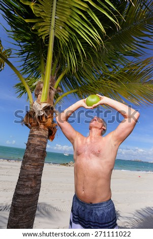 Stock image of a drinking coconut water - stock photo