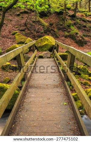 Stock image of a treacherous wooden footbridge over a river running through a gorge - stock photo