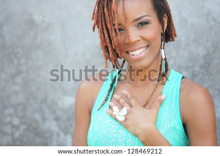 Stock image of an attractive young black woman - stock photo