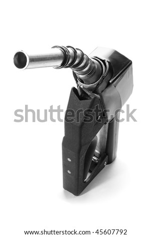 Stock image of black fuel nozzle over white background - stock photo