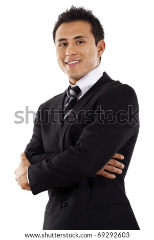 Stock image of businessman standing over white background - stock photo