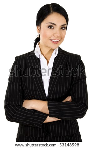 Stock image of businesswoman standing with arms crossed and smiling over white background - stock photo