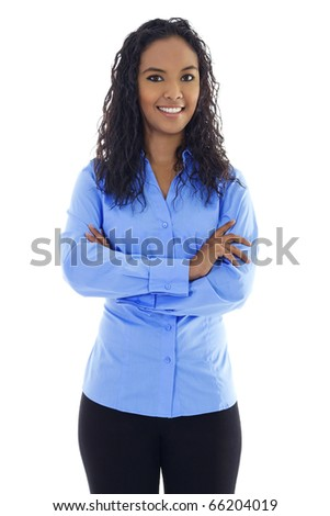 Stock image of confident woman standing over white background - stock photo