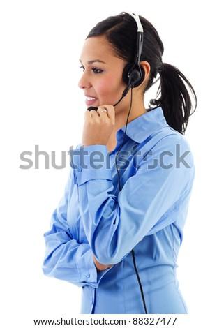 Stock image of female call center operator isolated on white - stock photo