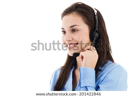 Stock image of female call center operator isolated on white background - stock photo