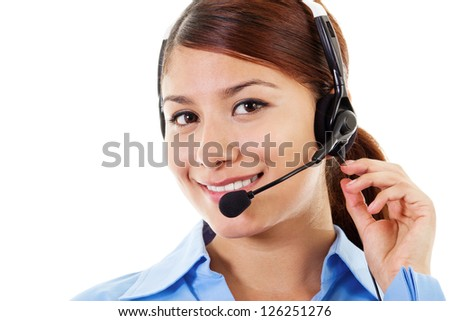 Stock image of female call center operator over white background - stock photo