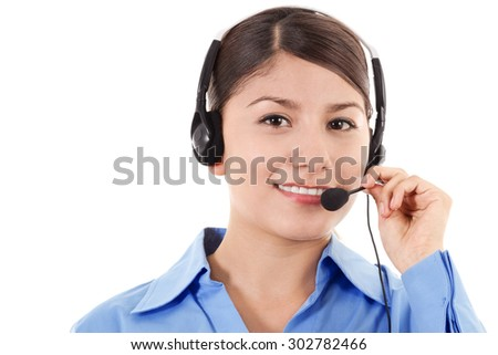 Stock image of female call center operator smiling, wearing business attire, isolated on white - stock photo