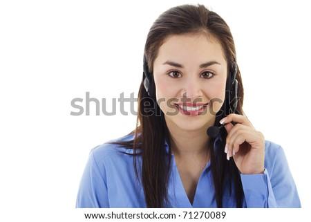 Stock image of female call center representative, isolated on white - stock photo