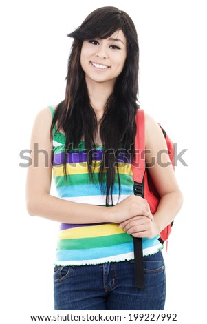 Stock image of female student isolated on white background - stock photo