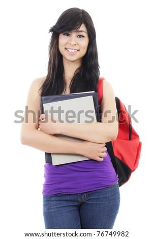 Stock image of female student, isolated on white background - stock photo