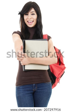 Stock image of female university student isolated on white background - stock photo