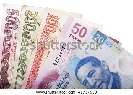 Stock image of five mexican peso banknotes of various denominations over white - stock photo