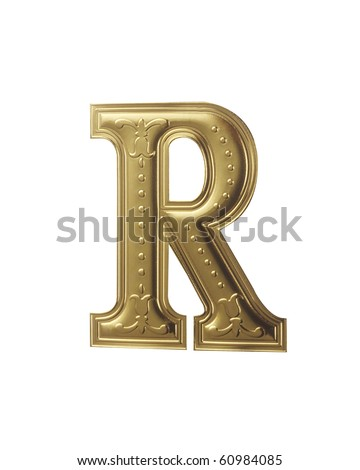 stock image of gold color alphabet