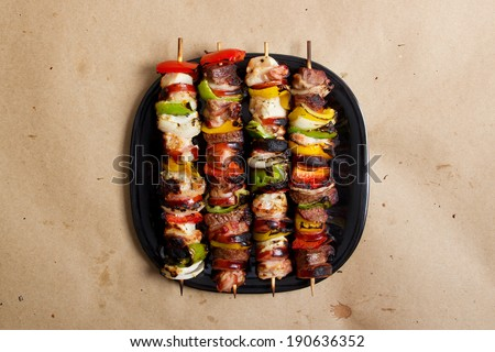 Stock image of grilled beef and chicken kebabs